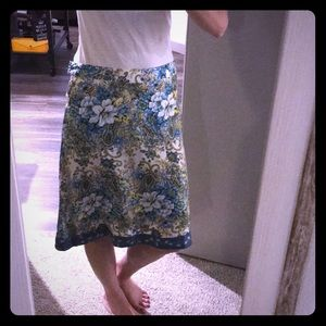 Size 2 floral 100% silk skirt